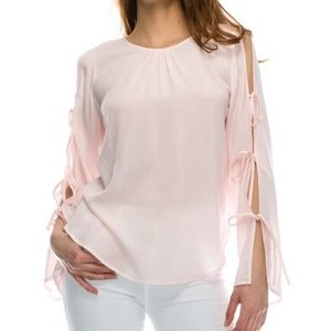 Tops - Pretty Pink Cotton Tie Sleeve Top
